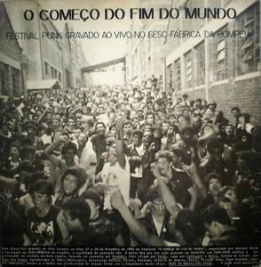 """Capa do LP """"Começo do Fim do Mundo"""", registro das principais bandas que tocaram no festival"""