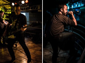 Na esquerda, Deivyson Teixeira, no baixo. Na direita, Airton S., no vocal. Fotos: Natasha Ramos